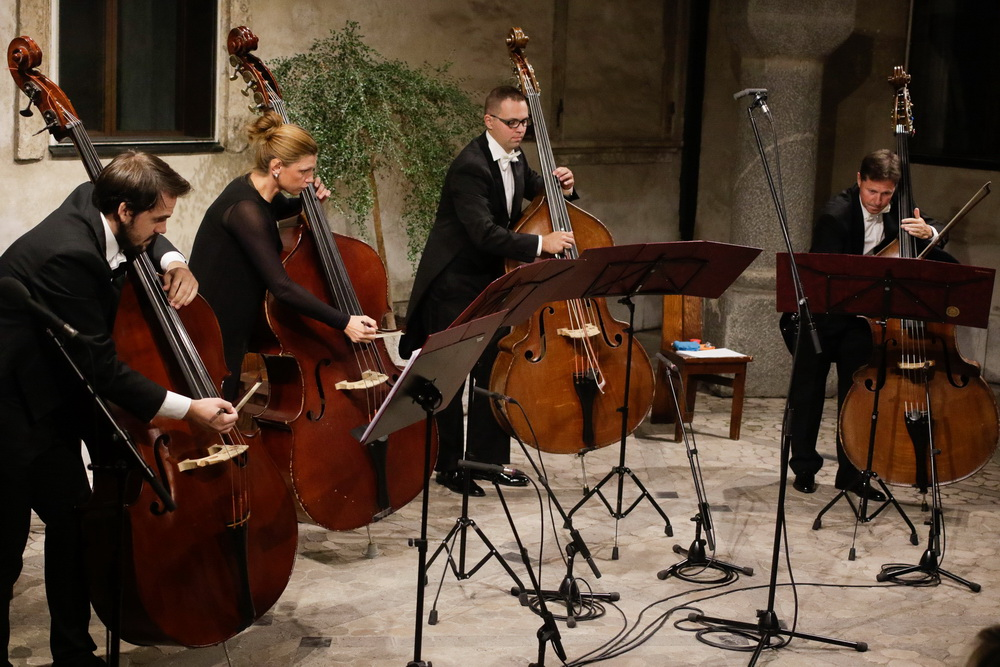 GOSPE IN GOSPODJE - Kvartet kontrabasov Slovenske filharmonije (Foto Goran Antlej)